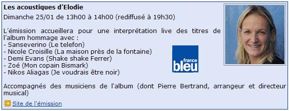 le 25/01/09 à 13h00 sur France Bleu - Les acoustiques... Les_acoustiques_d_Elodie
